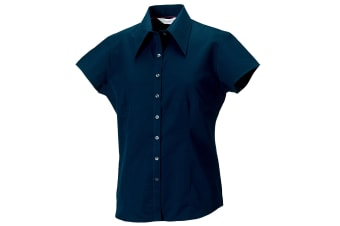 Russell Collection Womens/Ladies Short Cap Sleeve Tencel® Fitted Shirt (Navy) (XL)