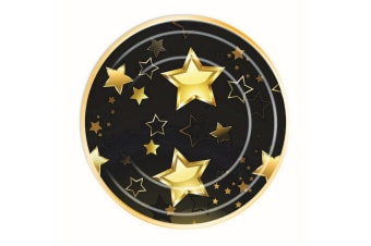 Bristol Novelty Birthday Milestone Party Plates (Pack Of 8) (Black/Gold) (Small)