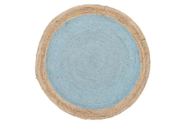 Round Jute Natural Rug Blue 200x200cm