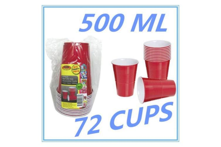 72PK DISPOSABLE PARTY PLASTIC RED USA STYLE JUMBO CUPS - ALL Occasions - BEER