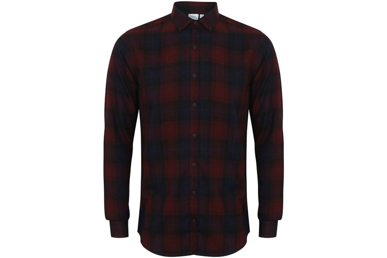 Skinni Fit Mens Brushed Check Casual Long Sleeve Shirt (Burgundy Check) (M)