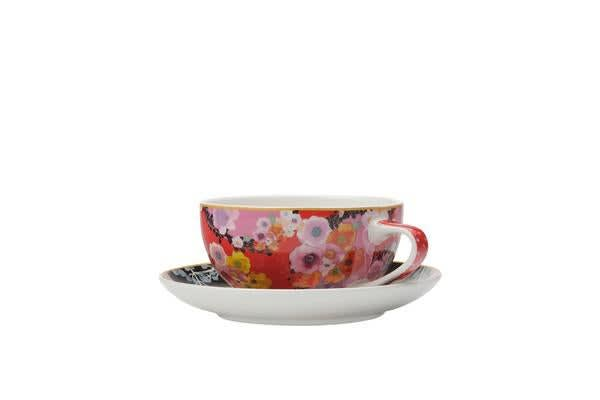 Maxwell & Williams Cashmere Bloems Coupe Cup & Saucer 250ml Red/Black