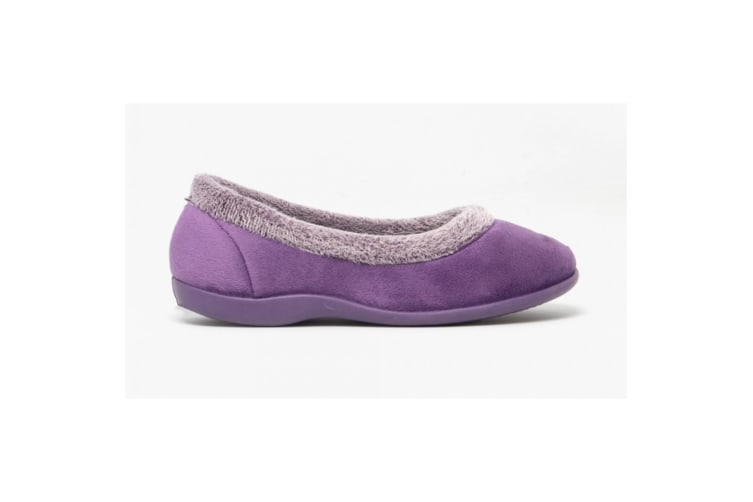 Sleepers Womens/Ladies Julia Memory Foam Collar Slippers (Purple) (6 UK)
