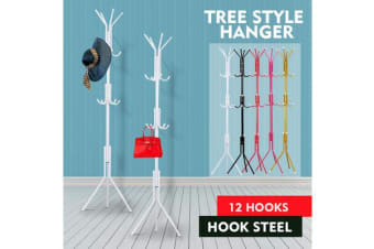 12 Hooks Coat Clothes Rack Umbrella Stand Tree Style WHITE
