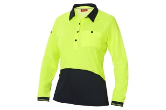 Hard Yakka Women's Koolgear Hi-Vis Long Sleeve Polo (Yellow/Dark Navy)