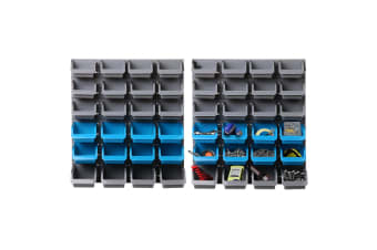 Giantz 48 Storage Bin Rack Wall-Mounted Garage Tool Parts Organiser Shelving