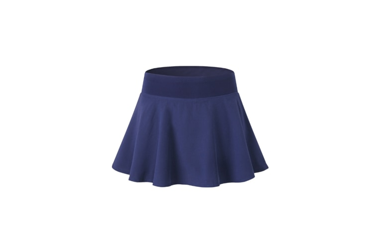 Women'S Pleated Elastic Quick-Drying Tennis Skirt With Shorts Running Skort - Navy Blue L