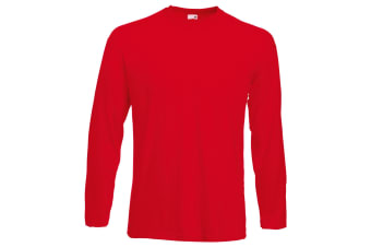 Fruit Of The Loom Mens Valueweight Crew Neck Long Sleeve T-Shirt (Red) (2XL)