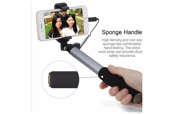 Rock Selfie Stick with Lightning Connector Wire control & Mirror ( Silver