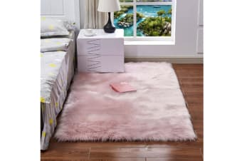 Super Soft Faux Sheepskin Fur Area Rugs Bedroom Floor Carpet Light Pink 40*40