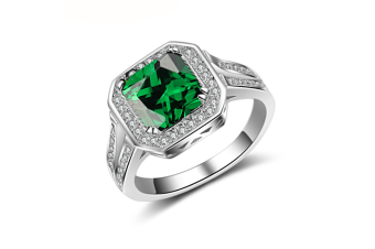 Princess Green Emerald Cubic Zirconia Halo Enement Ring 8
