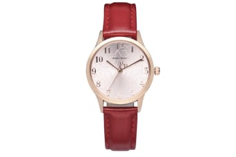 Select Mall Creative Belt Watch Fashion Trend Big Dial Quartz Watch Wrist Watch for Women Leather Band-Red