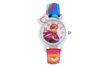 Select Mall Creative Frozen Child Watch Aisha Princess Girl Waterproof Quartz Watch Suitable for Girls Primary School Students-Red