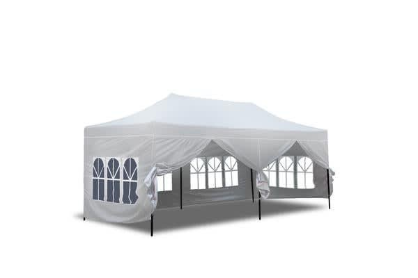 3x6m Pop Up Gazebo Folding Marquee in White