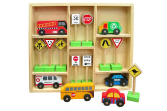 Wooden Cars and Traffic Signs