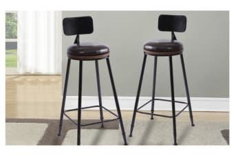 2x PU Vintage Industry Rustic Bar Stool With High Back