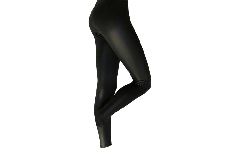 Silky Womens/Ladies Leather Look Fashion Leggings (1 Pair) (Black) (X-Large)