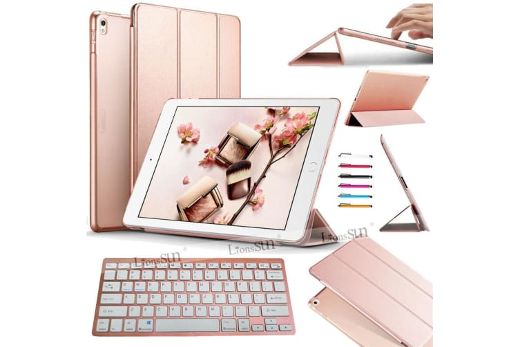 AU For iPad 7th Generation Bluetooth Keyboard Leather Cover Case-Rose Gold