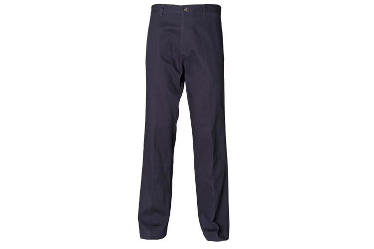 Henbury Teflon® Coated Stain Resistant Flat Front Chino Workwear Trousers (Navy) (30 x Long)