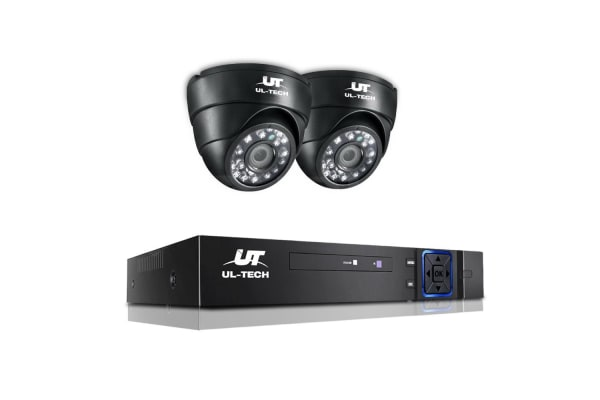 UL-TECH 1080P Four Channel Security System with 2 Cameras (Black)