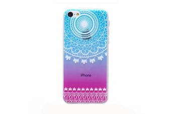 For iPhone SE 5S 5 Case Modern Grippy Mandala Shielding Cover Blue Pink