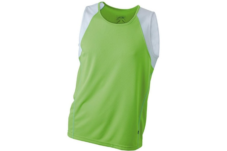James and Nicholson Mens Running Tank Top (Lime Green/White) (L)