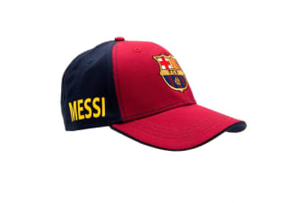 FC Barcelona Messi Touch Fastening Baseball Cap (Red/Blue) (One Size)