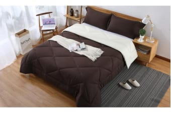 Microfibre Reversible Comforter Set Variant Size CHOCOLATE+CREAM - Queen