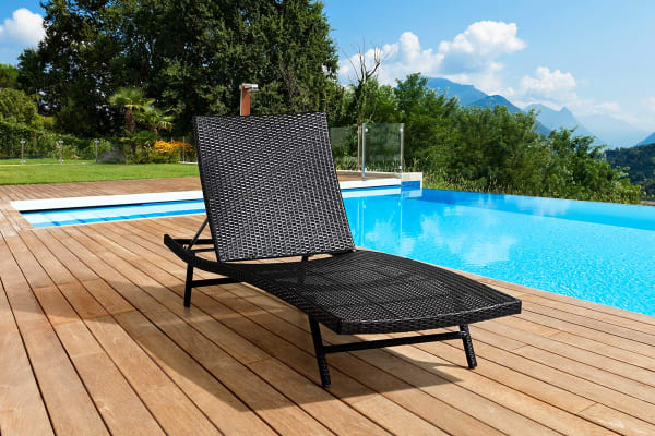 Shangri-La Wicker Sun Lounger (Dark Brown)