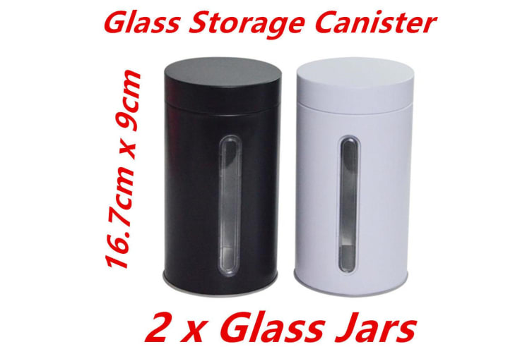 2 x Bulk Storage Glass Canister Jars w Window Aluminium Cover Kitchen Cookie Coffee