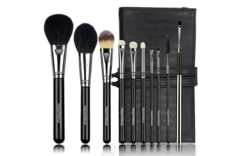 10Pcs Cosmetic Brush Sets Fine Copper Brush Tube Pu Pack - Black Black