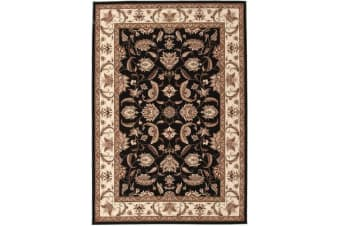 Stunning Formal Floral Design Rug Black 230x160cm