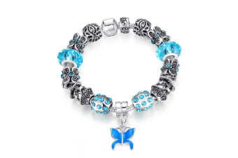 Pandora Inspired Full Set Beaded Charm Bracelet-Blue