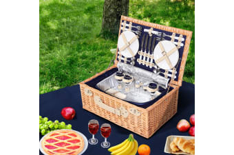 4 Wicker Person Picnic Basket Baskets Outdoor Insulated Blanket