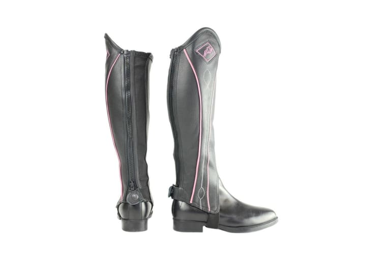 HyLAND Adults Two Tone Leather Gaiters (Black/Pink) (L)