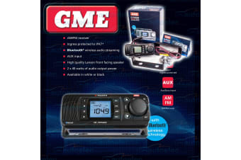 GME GR300 BOAT MARINE RADIO WATERPROOF DUSTPROOF AM FM LCD DISP BLUETOOTH BLACK