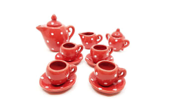 Ceramic Doll Tea Set with 13 Pieces in Red