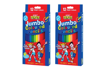 2x 12pc Texta Jumbo Colouring Pencils School/Home Art Drawing Coloured f/ Kids