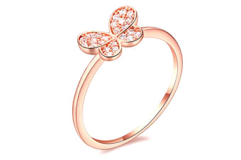 Butterfly Cz Ring-Rose Gold/Clear Size US 8