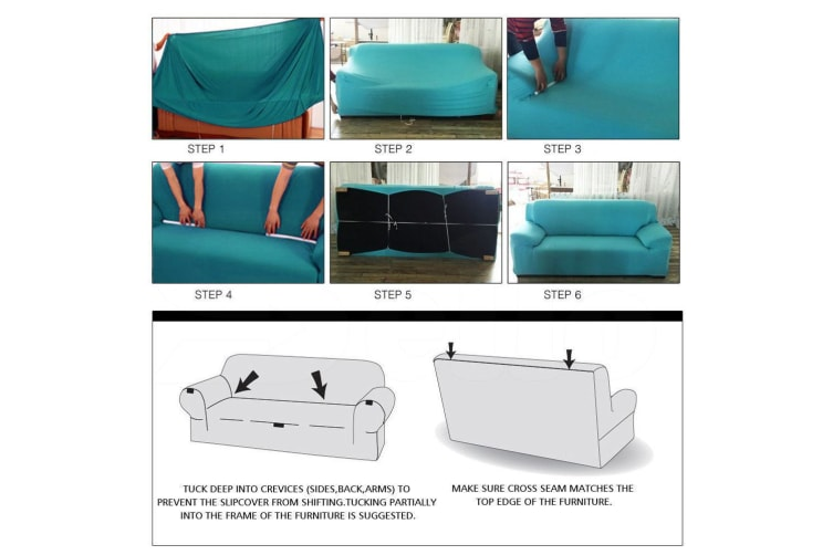 Easy Fit Stretch 1/2/3/4 Seater Couch Sofa Slipcovers Protectors Covers Washable  -  4-Seater in Black