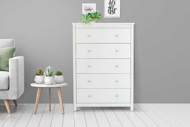 Shangri-La Chest of 5 Drawers - Brighton Collection (White)