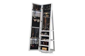 360° Rotatable Mirror Jewellery Cabinet w/ Necklace Earring Ring Holders