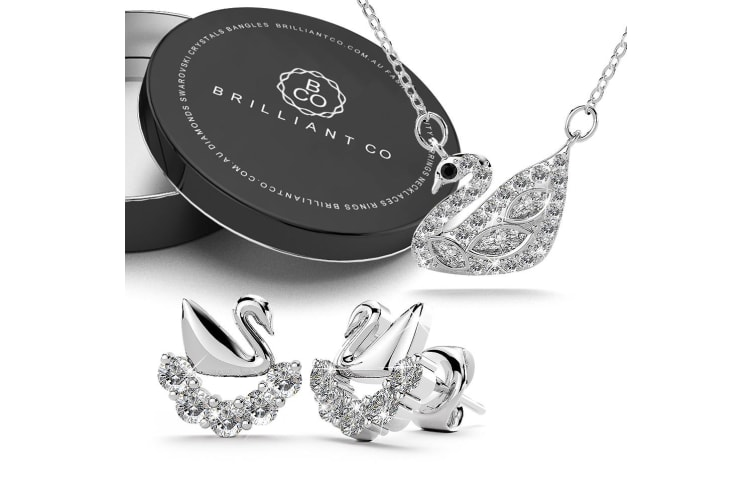 Boxed .925 Swans Upon Stars Necklace and Earrings Set