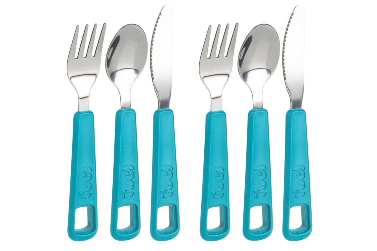6pc Trudeau Snap Cutlery Spoon Fork Knife Stainless Steel f Camping Lunch Box BL