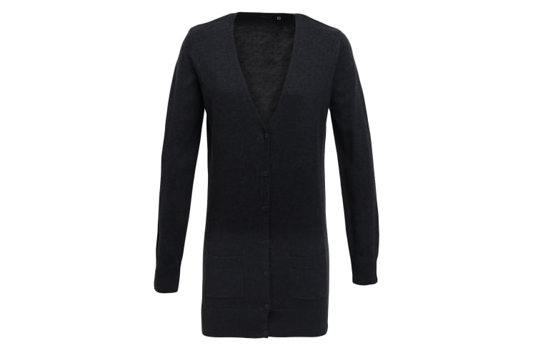 Premier Womens/Ladies Longline V Neck Knitted Cardigan (Charcoal) (10)