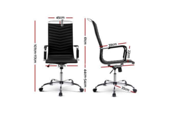Artiss Eames Replica Office Chair Computer Seating PU Leather Executive Home Black