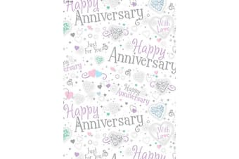 Iparty All Wrapped Up Happy Anniversary Gift Wraps (24 Sheets) (Silver) (70 x 50cm)