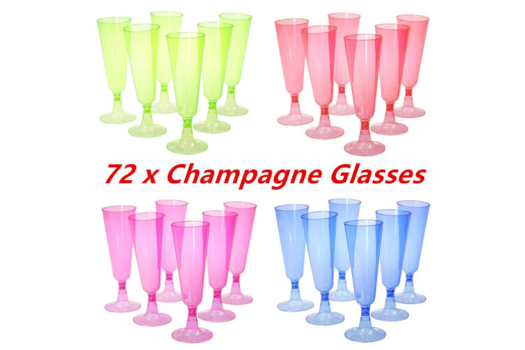 72 x 125ml Colored Disposable Plastic Champagne Flutes Wedding Party Glass Cups