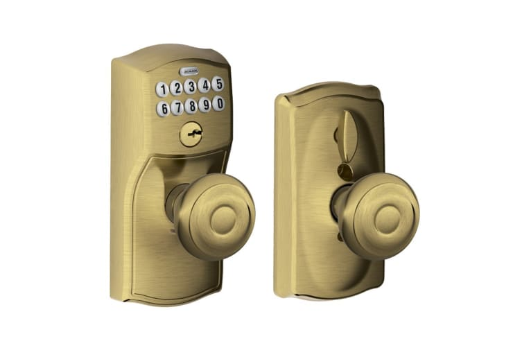 Schlage Keypad Lever with Camelot Trim and Georgian Knob with Flex Lock (Antique Brass)
