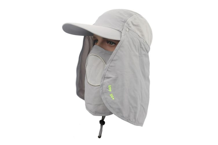 Outdoor Sun Protection Removable Neck&Face Flap Cover Hats LightGray